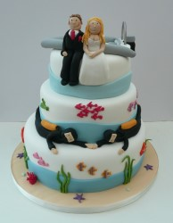 Diving wedding cake